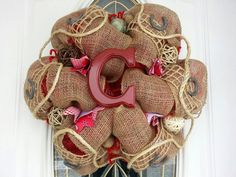 Deco Mesh Wreath Burlap and Red Western Wreath. $30 Etsy