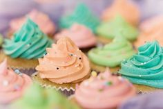 Pastel coloured cupcakes