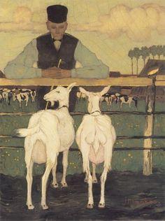 Farmer With Goats Artwork By Jan Mankes Oil Painting & Art Prints On Canvas For Sale Goat Art, Gauguin, Blue Lantern, Mary Cassatt, Monet, Dutch Painters, Dutch Artists, Museum Of Modern Art, Matisse