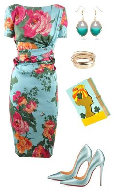 """Цветочный принт на платье"" by tania-tatu ❤ liked on Polyvore featuring Talbot Runhof, Christian Louboutin, Valentino and Olympia Le-Tan"