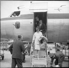A pregnant Audrey Hepburn arrives home to Bürgenstock, Switzerland after visiting Nice, France,1960.