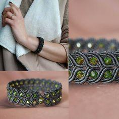 Gift for woman. Anniversary gift. Chic bracelet, swarovski bracelet, black jewellery, by EsmeJewelleryArt on Etsy