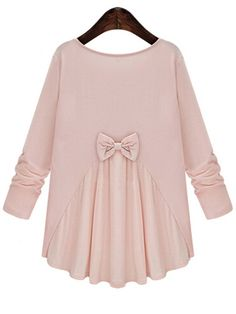 Pink Round Neck Bow Embellished Plus T-Shirt 30.70