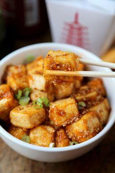 honey sriracha tofu