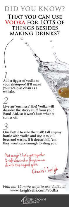 There are lots of ways to use them you mightn't have thought of! www.leighsells.com/vodka