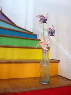 rainbow and wood stairs, La Bellette Rose on Remodelaholic Rainbow Room, Rainbow Colors, Rainbow House, Hardwood Stairs, Wooden Stairs, Stair Steps, Stair Treads, Rainbow Connection, Painted Stairs