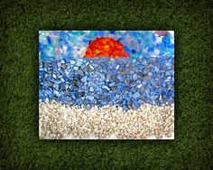 Sunset Beach Mixed Media Mosaic Style Canvas by NocturnalPandie