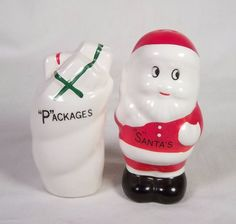 Vintage Salt and Pepper Shakers - Santa's Packages w/ Christmas Presents