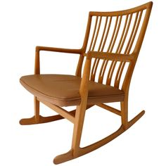 Hans Wegner ML-33 Rocking Chair c.1942 | From a unique collection of antique and modern rocking chairs at http://www.1stdibs.com/furniture/seating/rocking-chairs/. The leather takes it to a new level of sleekness.