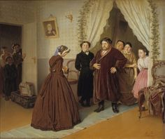A Governess Arrives at a Merchant's Home by Vasily Grigorievich Perov, 1866. The State Tretyakov Gallery, Public Domain