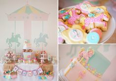 sweet table with carousel cake and carousel wall decal backdrop via Amy Atlas