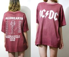 90s Vintage ACDC Tshirt BALLBREAKER Band Tour Concert T Shirt Faded Worn Maroon Cotton Slouchy Oversized Rock ac/dc 1990s vtg