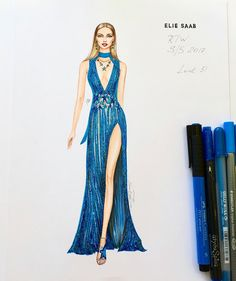"796 Likes, 10 Comments - NataliaZ.Liu (@nataliazorinliu) on Instagram: ""My second illustration of haute couture Jean Paul Gaultier gown S/S 2017 collection…"""