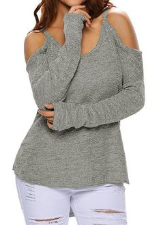 Long Sleeve Strappy Cold Shoulder Grey Sweater | Rosewe.com - USD $25.81
