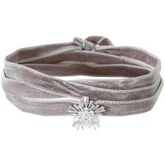 Fallon Women's Monarch Velvet Starburst Wrap Choker (490 SAR) ❤ liked on Polyvore featuring jewelry, necklaces, grey, wrap necklace, pendant jewelry, choker jewelry, pendant necklace and fallon jewelry