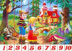 Children going to a a new home they discovered pieces) Preschool Education, Preschool Activities, Toddler Preschool, Counting Puzzles, Skip Counting, Christmas Jigsaw Puzzles, Hansel Y Gretel, Story Of The World, Color Activities