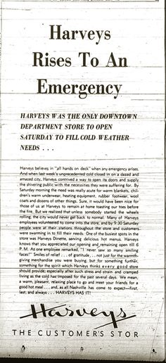 Harveys was the only downtown department store to open Saturday to fill cold weather needs...