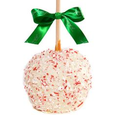 Try our seasonal holiday white Belgian chocolate caramel apple with peppermint flakes. We start with a chilled granny smith apple and hand dip it in our kettle made buttery caramel. We then enrobe it with white Belgian chocolate and candy canes. Christmas Desserts, Holiday Treats, Christmas Treats, Christmas Goodies, Christmas Baking, Christmas Christmas, Apple Centerpieces, Apple Decorations, Apple W