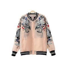 Pink Pockets Fish Embroidery Organza Jacket (€64) ❤ liked on Polyvore featuring outerwear, jackets, organza jacket, pink jacket, embroidered jacket, embroidery jackets and pocket jacket