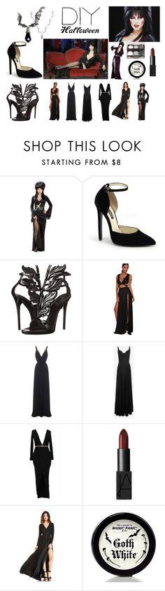"""DIY Halloween Costume: Elvira"" by len-groenewald ❤ liked on Polyvore featuring Tryst, Giuseppe Zanotti, Temperley London, A.L.C., NARS Cosmetics, Manic Panic, contest, contestentry and diyhalloweencostume"