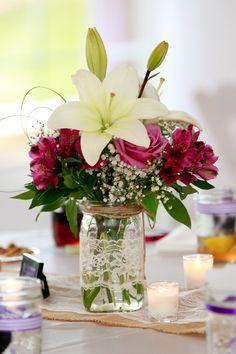 Mason Jars, Burlap and Lace decor Photography: Amanda Allen, Floral: Loretta Smith