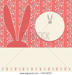 Invitation, Happy Easter Holiday Greeting card background. Poster. Frame, red background. Vector Illustration