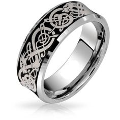 King Will 8mm Concaved Tungsten Ring Celtic Knot Silver Dragon Plated... ($19) ❤ liked on Polyvore featuring jewelry, rings, band rings, wedding band rings, silver wedding rings, silver rings and tungsten wedding rings