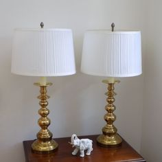 Hollywood Regency Mid Century Brass Lamp Pair Vintage Table Lamp Bedroom Living Room Office Classic Elegant Decor Accent Lighting