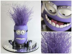 Purple Minion Cake Hair is airbrushed vermicelli noodles