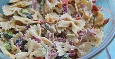 Bacon and cheddar ranch pasta salad. May make for Ava's birthday party without mayo.