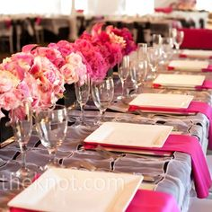 pretty pink and white with fuchsia accents-- wedding decor, tables cape  #wedding #florals #pink  wedding ideas and inspiration