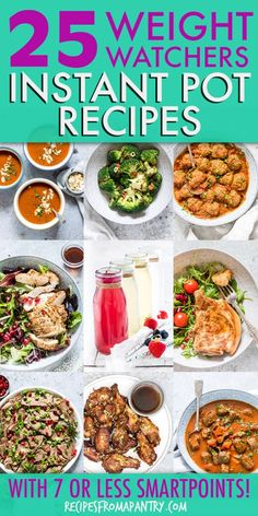 This collection of 25 Weight Watchers Instant Pot Recipes makes it easy to stick with your healthy eating plan. Each dish has just 7 SmartPoints or less! Best Instant Pot Recipe, Instant Pot Dinner Recipes, Lunch Recipes, Appetizer Recipes, Healthy Recipes, Instapot Recipes Chicken, Pots, Recipes For Beginners, Pressure Cooker Recipes