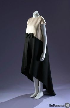 Cristobal Balenciaga (French, founded 1949), Evening dress, 1968. Black and white silk gazar. Gift of Mrs. Ephraim London, Mrs. Rowland Mindlin & Mrs. Walter Eytan In Memory of Mrs. M. Lincoln Schuster. 78.134.6. The Museum at FIT 2012 © The Museum at FIT