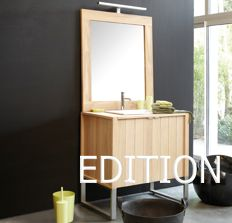 Website Photo Gallery Examples Au Natural EDITION vanity in solid Oak features stainless steel legs and drawer pulls