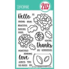 """Avery Elle Clear Stamp Set 4""""X6""""-Peonies"""