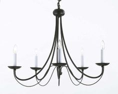 "Wrought Iron Chandelier Lighting H22"" X W26"" - A7-403/5"