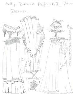 ~PAPER DOLL EVE: A GIRL DREAMS~: Belly dancer dresses to color. Vestidos de bailarinas del vientre para colorear.