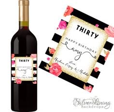 30th Birthday Wine Label - 30th Birthday Gift - Dirty Thirty Gift - Cheeky 30th Birthday Gift- Personalized Dirty 30 Birthday Party Gift by SilverLiningBackdrop on Etsy