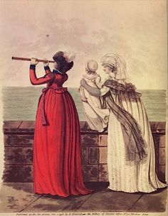 Two ladies and a child by the sea posters, canvas prints, framed pictures, postcards & more by Anonymous. Handmade in the UK. Fine Art Prints, Framed Prints, Canvas Prints, 18th Century Fashion, 19th Century, Heritage Image, Fashion Plates, Fashion Prints, Poster Size Prints