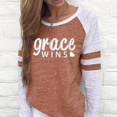 Slow To Anger Women's Baseball Jersey Christian Semi-Fitted Long Sleeve Shirt National Baseball League, Grace Wins, Slow To Anger, Baseball Jerseys, Order Prints, Long Sleeve Shirts, Tees, Sleeves, Sweaters