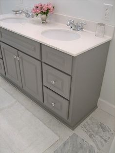 Grey cabinets for bathroom hate the white one we have i think the grey will match the floor better  LOVE THIS !