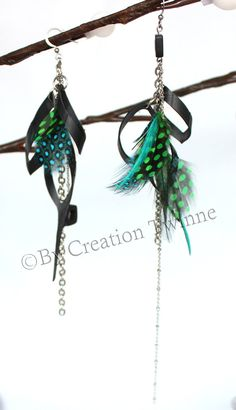 Gorgeous!!! green blue feather earrings,upcycle bike inner tube earring, wedding favor,funky earrings,long asymmetrical earring,bridesmaids gift, chain