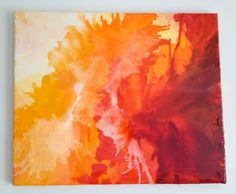 So cool! Original 20X24 Abstract Acrylic Painting with Melted Crayon on Canvas with High Gloss Finish