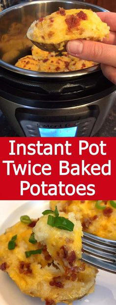 These Instant Pot twice baked potatoes are amazing! Made only using the Instant Pot, no oven needed! Twice as fast as the oven method! I love double baked potatoes! pot recipes curry Instant Pot Twice Baked Potatoes Instant Pot Potato Recipe, Best Instant Pot Recipe, Instant Pot Dinner Recipes, Instant Potatoes, Instant Recipes, Instant Pot Meals, Recipes Dinner, Potato Recipes, Crockpot Recipes