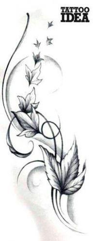56 Ideas for tattoo frauen seite rippen klein Ivy Tattoo, Flor Tattoo, Vine Tattoos, Music Tattoos, Feather Tattoos, Leg Tattoos, Body Art Tattoos, Faith Tattoos, Quote Tattoos