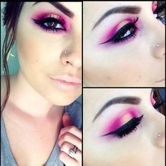 """@concreteminerals """"hi-fi"""" (outer corners) """"vegas"""" (lid), Mac fluidline in blacktrack (liner) and red cherry eyelashes in #47"""