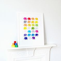 A bright and lively elephant poster ideal for adding a pop of colour to a baby's nursery or child's room.Available in a range of sizes and digitally printed on 200gsm card, giving a quality crisp finish and vivid colours. A4 and A3 frames availableAll our frames are solid wood with a smooth white finish. They are fitted with premium quality perspex which makes them perfectly safe for nurseries and for posting. The frames include a snow-white mount and the o...