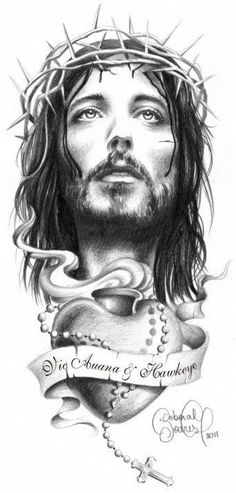 left shoulder chest piece with the cross that Jim got for me. Tattoos 3d, Body Art Tattoos, Tattoo Drawings, Sleeve Tattoos, Jesus Tattoo, Chicano Art, Tatoo Art, Jesus Pictures, Christian Art