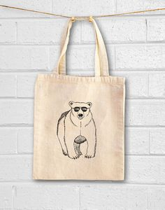Canvas Tote Bag Bear Tote Bag Animal Tote bag by GoodSailorApparel