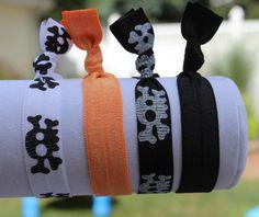 Skull and Crossbones Hair Ties.  Elastic by SweetLovesBowtique, $5.00